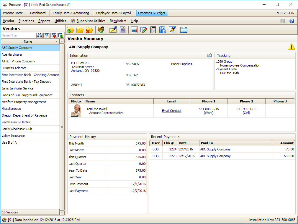 Expenses and Ledger Software Screenshot