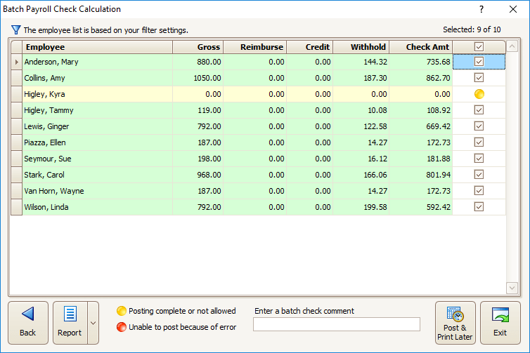 Payroll Screenshot - Batch Payroll Check Calculations